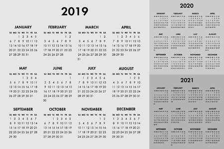 Vector calendar for 2019 2020 2021 year. Week starts sunday