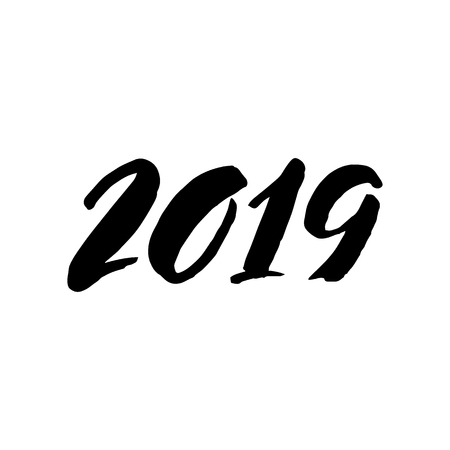 2019 lettering isolated on a white background. Happy New Year handwritten inscription. Brush painted numbers. Vector design template