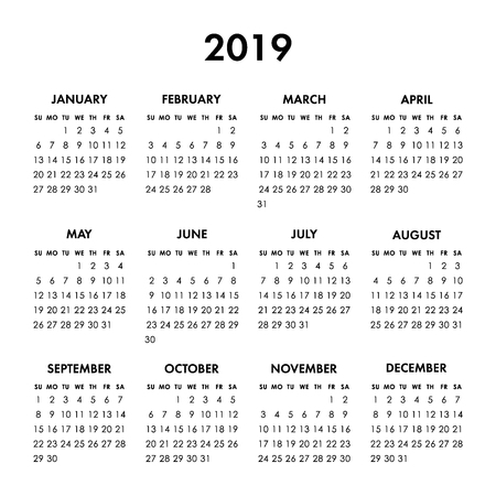 Calendar 2019 year on a white background. Week starts Sunday