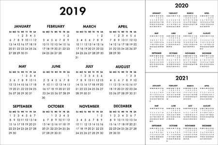 Vector calendar for 2019 2020 2021 year. Week starts Sunday
