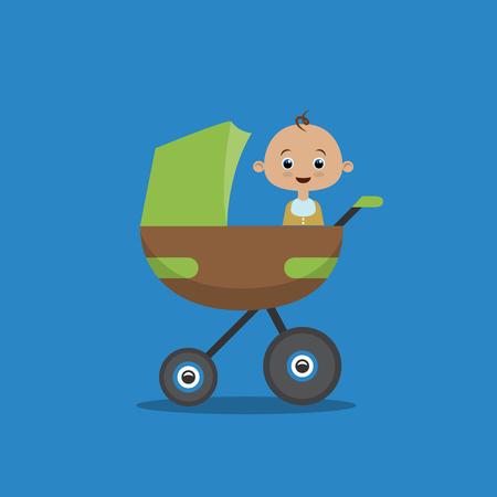 Petit garçon en calèche. Poussette bébé. Illustration vectorielle de style plat