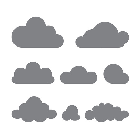 Set of clouds of different forms isolated on a white background. Vector design template Illusztráció