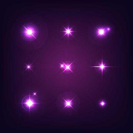 Satz von verschiedenen Formen von Funken. Realistische Starbursts auf dunklem Hintergrund. Blitzlicht. Vektor-Illustration