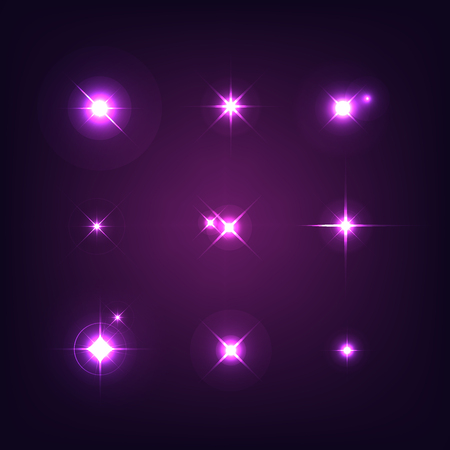 Set of various forms of sparks. Realistic starbursts on dark background. Flash Light. Vector illustration