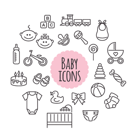 Set of baby icons isolated on a white background. Line style signs. Vector design elements