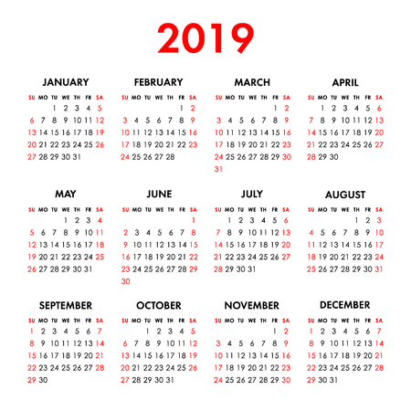 Calendar 2019 year isolated on a white background. Week starts sunday. Vector design template Illusztráció