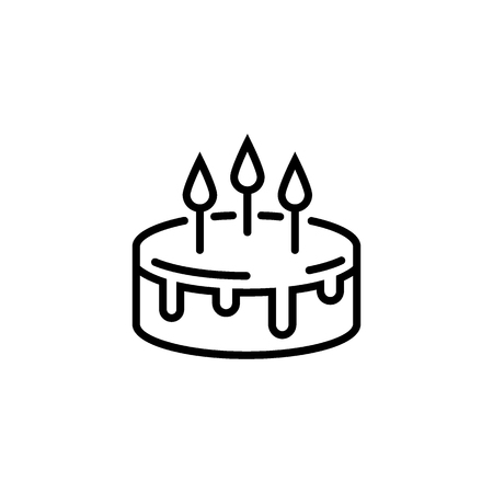 Cake line icon isolated on a white background. Pie sign. Vector illustration