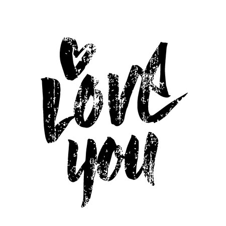 I love you handwritten inscription. Valentines Day hand drawn text. Letters with heart. Brush painted lettering. Grunge style. Vector illustration