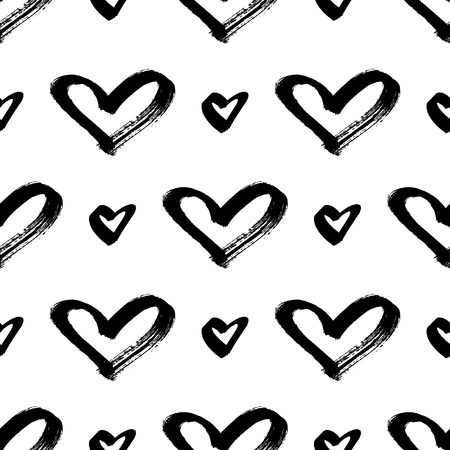 Seamless hearts pattern. Brush painted hand draw hearts background. Black and white texture. Vector illustration