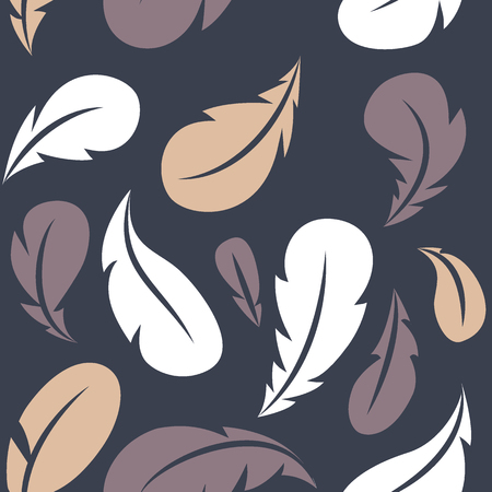 Feather seamless pattern. Flying multicolored feathers. Vector design template