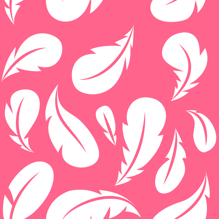 Feather seamless pattern. Flying white feathers on pink background. Vector design template Illusztráció