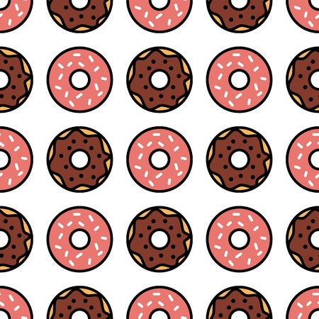 Seamless donut pattern. Colorful donuts background. Vector design elements