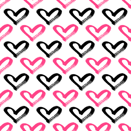 Seamless hearts pattern. Brush painted hearts background Illusztráció