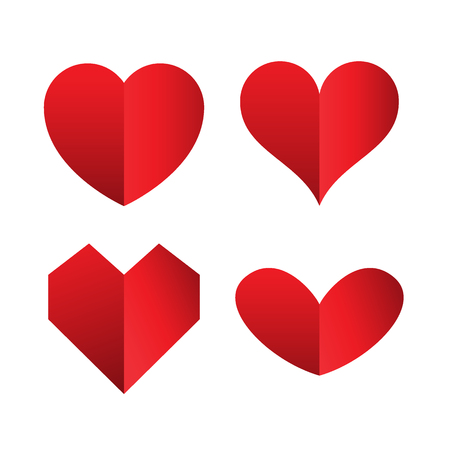set of heart icons isolated on white background