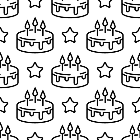 Seamless birthday cake pattern. Line cakes with stars on a white background. Vector design template Illusztráció