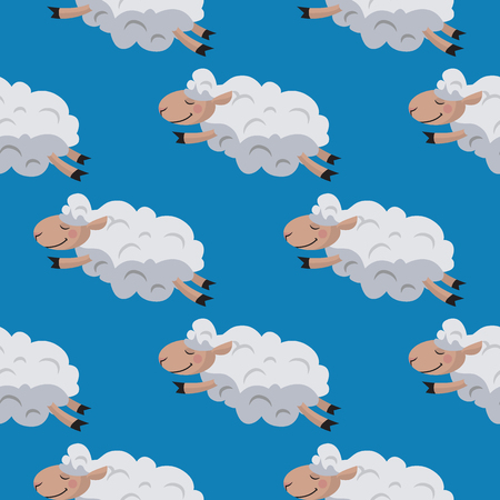 Seamless pattern with flying sheeps. Lamb background. Vector illustration Illusztráció
