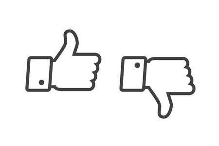 Thumb up and thumb down icons set isolated on a white background Illusztráció