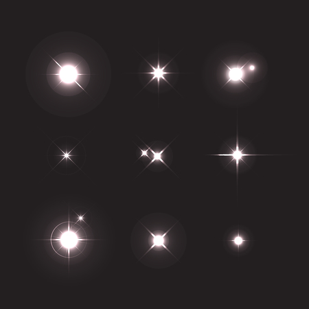 Shining star isolated on a black background. Set of various forms of sparks. Glowing light effect. Vector starbursts symbols