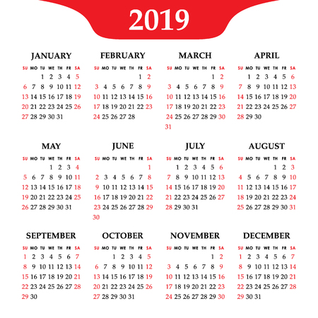 Calendar 2019 year isolated on a white background. Week starts Sunday. Vector design template