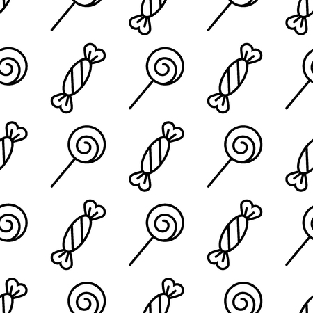Seamless candy pattern. Sweets abstract background. Line icons. Black and white texture. Vector design template