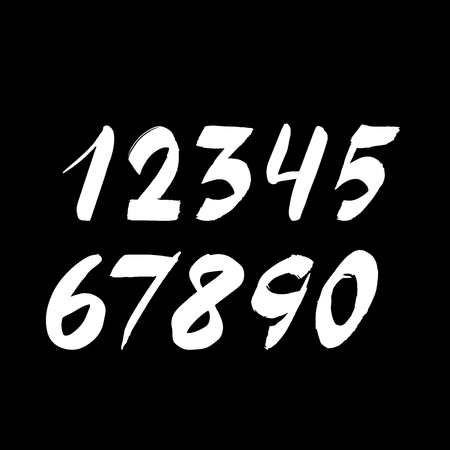 Handwritten numbers isolated on background. Hand drawn brush stroke fonts. White chalk numeral on a black board. Vector illustration Illustration