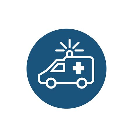 Vector ambulance line icon on white background