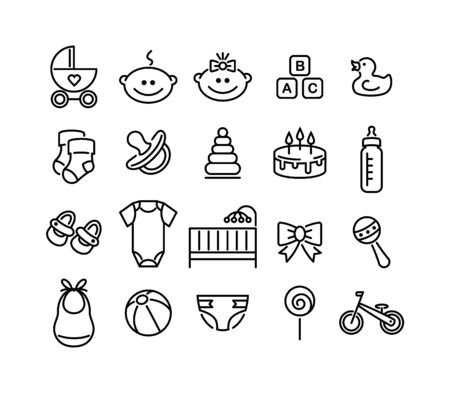 Set of baby icons. Line style signs. Vector design elements