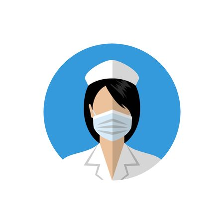 Female doctor icon. Nurse wearing a medical mask Illusztráció