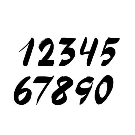 Handwritten numbers isolated on white background. Hand drawn brush stroke fonts. Black numeral. Vector illustration