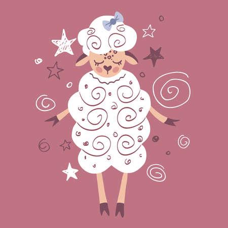 Hand-drawn cute lamb. Sleeping lamb on a stars background