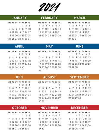 Vector calendar for 2021 year. Week starts monday Vettoriali