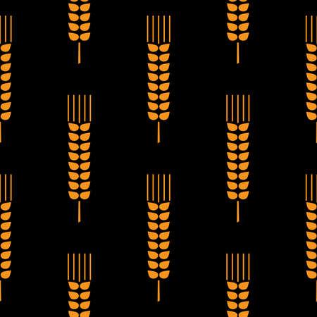 Seamless wheat ear pattern. Golden ears on black background 向量圖像