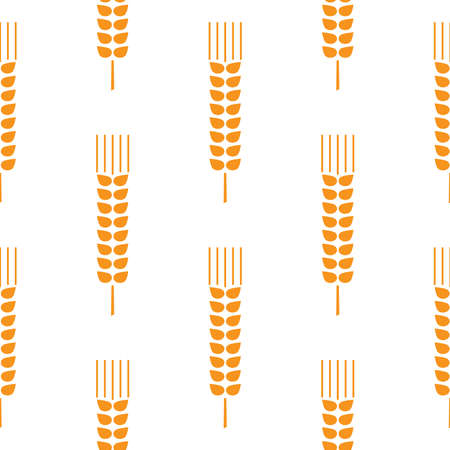 Seamless wheat ear pattern. Golden ears on white background