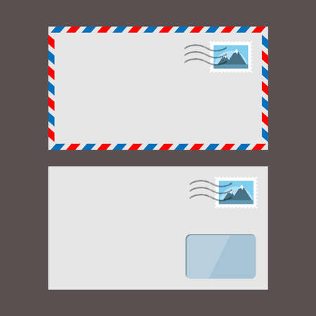 Set of vector paper envelopes. Postal envelope with stamp 向量圖像