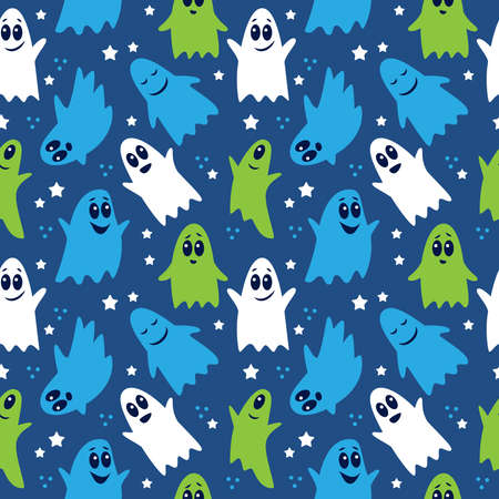 Seamless pattern of cute funny cartoon ghosts on blue background