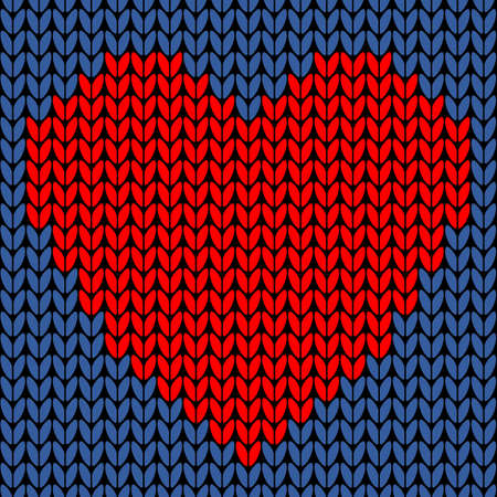 Vector seamless knit pattern with red heart. Knitted background Иллюстрация