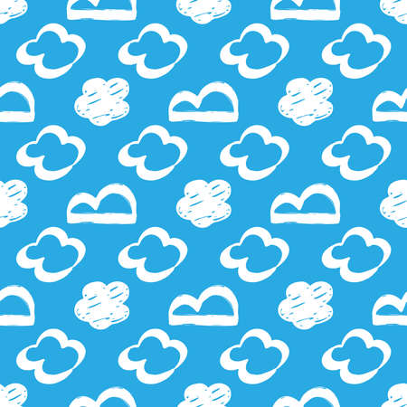 Seamless drawn cloud pattern. Brush painted clouds on a blue background