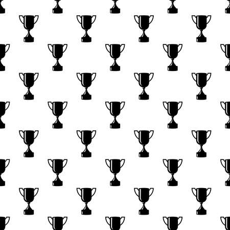 Seamless awards pattern. Black cups on white background