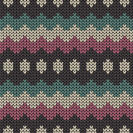 Vector seamless knit pattern with zigzag stripes. Knitted background Иллюстрация