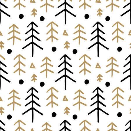 Seamless christmas pattern with with fir trees. Winter snowy forest background
