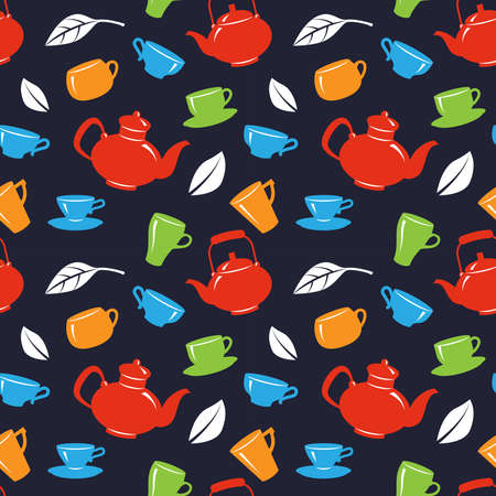 Seamless pattern with teapot and tea cups on black background