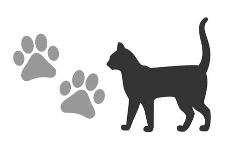 Vector kitten footprints and silhouette of a black cat isolated on a white background