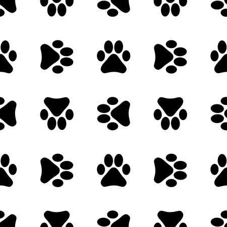 Seamless pattern with footprints. Background with black footprints of a cat or dog