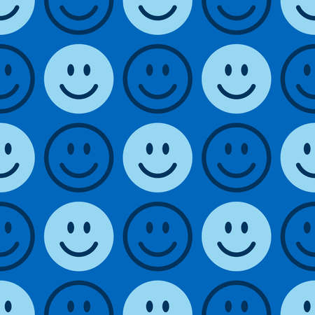 Smile icon pattern. Happy faces on a blue background. Vector abstract background