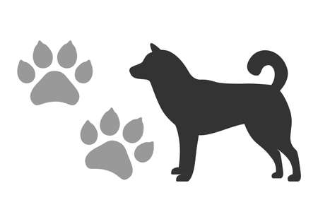 Vector dogs footprints and silhouette of a black dog isolated on a white background