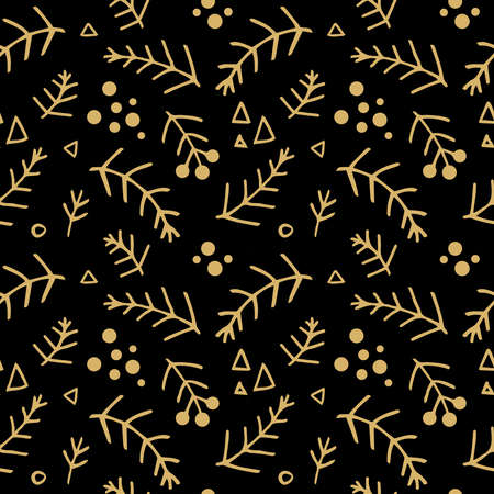 Seamless christmas pattern with fir branches. Spruce background