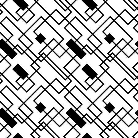 Vector seamless geometric pattern with lines, squares and rectangles