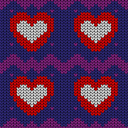 Vector seamless knit pattern with red hearts. Knitted background Иллюстрация