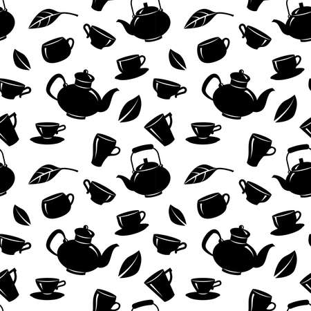 Seamless pattern with teapot and tea cups on white background