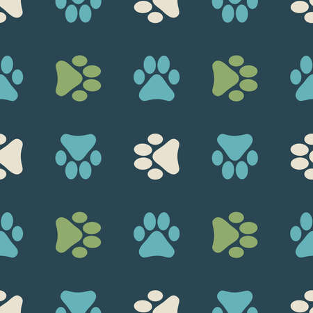 Seamless pattern with animal footprints. Background with footprints of a cat or dog